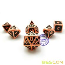 Bescon Deluxe Copper y Black Enamel Solid Metal Polyhedral Role Playing RPG Game Dice Set de 7 con bolsa con cordón libre