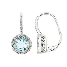 Aquamarine Round Cut Cubic Zircon Hoop Earrings 925 Sterling Silver Jewelry
