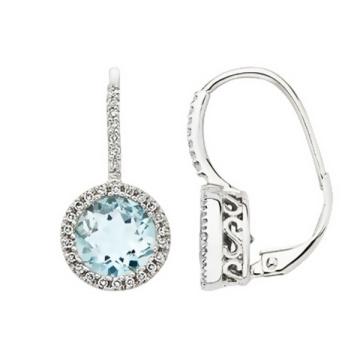 Aquamarine Round Cut Cubic Zircon Hoop Earrings 925 Sterling Silver Jewelry