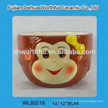 Cuenco de cerámica elegante forma de mono