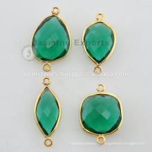 Gold Vermeil Natural Emerald Glass Bezel Configuração de conectores de pedras preciosas Atacado Preço barato Fornecedores de jóias e Fabricante