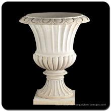 Garden decoration natural stone white marble flowerpot