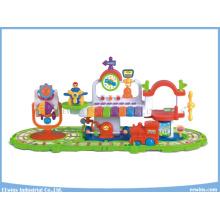 Elektrischer Bahnhof Lernspielzeug mit Spielzeug Zug und Flugzeug Bildung