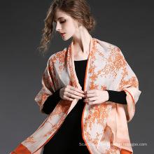 Lenço de chiffon de seda duplo Lenço de laranja para mulheres Lenços Sp20-3