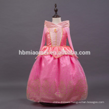 pink color sleeping beauty autora dress kids princess dress for party wear