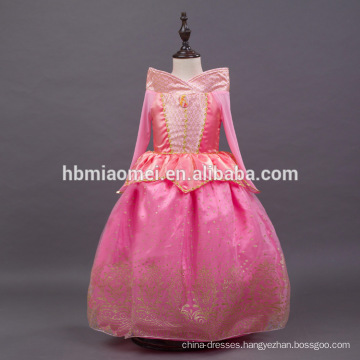 pink color sleeping beauty autora dress kids princess dress for party wear