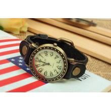Pulseiras de couro preto relógio pulseira de couro grossista impermeável KSQN-09