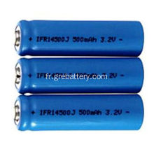 3.2V 500mAh Rechargeable au lithium AA