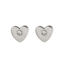 E-337 xuping alta qualidade simples aço inoxidável coração forma strass senhoras brincos