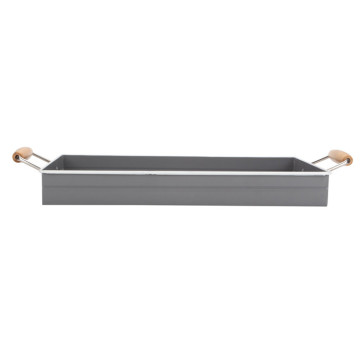 Gray Square Metal Serving Tray mit Holzgriff