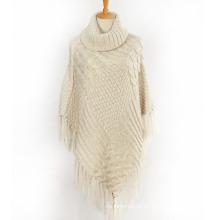 Womens Sweater Cardigan Wraps Inverno malha cabo franjas xales Poncho (SP610)