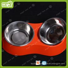 Красная меламиновая двойная чаша с чашей из нержавеющей стали