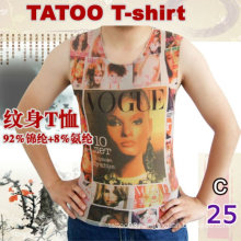 2016 hot sale sleeveless tattoo nylon t-shirt