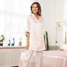Роскошные длинные брюки из шелковой пижамы с V-образным вырезом 19Momme