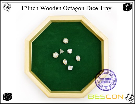12Inch Wooden Octagon Dice Tray-2