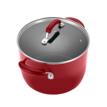 Non-stick aluminium stew pot with glass lid