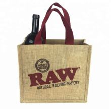 Wholesale cheap printed natural jute shopping bag,tote jute bag