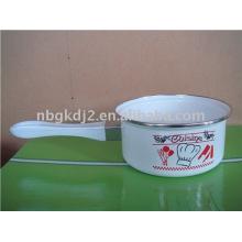 enamel milk pot with plastic handle