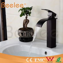 Square Black Orb Brass Single Handle Waterfall Basin Faucet/Copper Water Tap Mixer