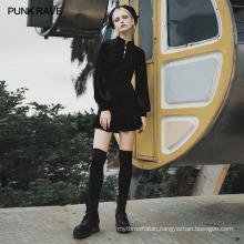 PUNK RAVE OPQ-627LQF girls sexy dart series mini vintage bodycon party club Chinese collar velvet wholesale black dress