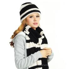 (LKN15036) inverno promocional malha chapéus beanie com cachecol