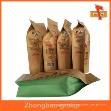 Heat seal laminated printed brown kraft paper bag for nuts with custom printing