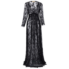 Kate Kasin Maternity SexyDeep V-Neck Long Sleeve See-Through Black Lace Maxi Long Maternity Dress KK001082-1