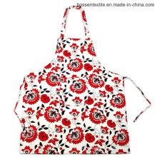 Custom Made floral padrão de flores impressas 2 bolsos de algodão sarja cozinha cozinhar babador avental