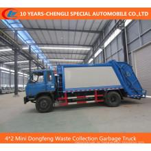 Caminhão de lixo da coleção Waste de 4 * 2 mini Dongfeng, caminhão de lixo comprimido
