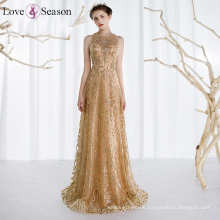 OB96297 beaded evening dress real flowers evening dress gold evening dresses made in China