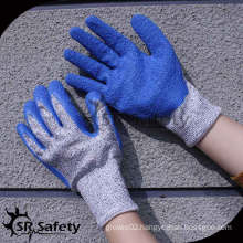 SRSAFETY 13 gauge blue cut resistant gloves/anti-cut gloves/safety blue cut resistant gloves