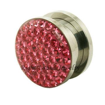 Joyería de cuerpo único 316L Acero rosa cristal 10 mm Piedra Ear Plug
