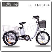 MOTORLIFE / OEM marque EN15194 36v 250w électrique pousse-pousse automatique au Bangladesh, tricycle électrique pour adulte