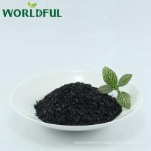 Melhor qualidade humate fertilizante de leonardite natural refinado de potássio humate floco preto brilhante