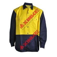 Camisa à prova de sol do trabalho da segurança do algodão alaranjado de AS / NZS 4399 para o mercado de Austrália