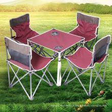 Mesas dobráveis e cadeiras terno conjunto para piquenique, 5 peças embalar mesas dobráveis ao ar livre e cadeiras