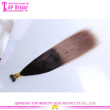 Wholesale top quality unprocessed silky straight ombre color i tip 100% virgin indian remy hair extensions