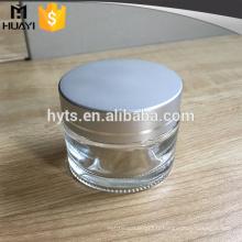 Pot en verre dépoli de 50ml avec couvercle pour les soins de la peau