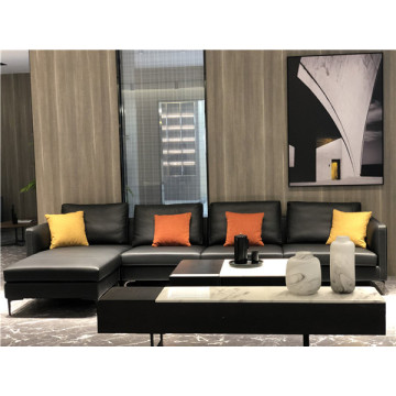 L Bentuk Sofa Kulit Sectional