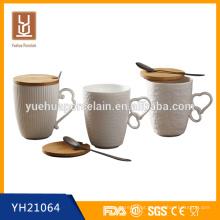 480ml nova caneca de cerâmica branca com tampa de madeira e colher