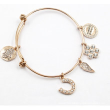 Gold Plating Stainless Steel Bracelet with Charms