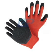 Red Polyester/Nylon Black Crinkle Coated Rubber Latex Gloves Dipped Working Hand Gloves For Garden
