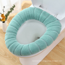 Toilet Seat Cover,Bathroom Soft Thicker Warmer with Snaps Fixed Stretchable Washable Fiber Cloth Toilet Seat Covers Pads