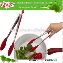 BPA Free Popular Restaurant Dedicated resistente al calor de silicona de acero inoxidable / Metal Tongs de servicio