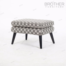 Wooden Frame Floral Fabric Covered Dressing Room Low Stool Padded Bedroom Foot Stool