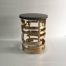 marble top golden stainless steel base end table