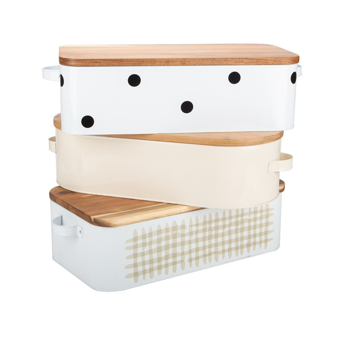Bread Bin With Bamboo Lid Set 3
