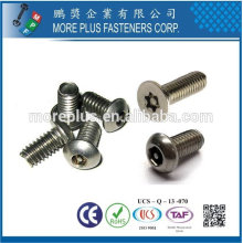 Taiwan Acier inoxydable 18-8 Acier chromé Acier nickelé Cuivre Laiton One Way Torx Pin Irregular Type Safety Screw