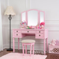 2018 New Design French Style Wooden Mirror Movable Pink Modern Dressing Table for girls