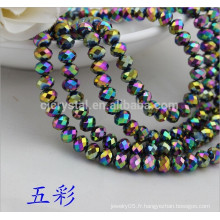 Perles Rondelle en vrac en vrac, perles de cristal